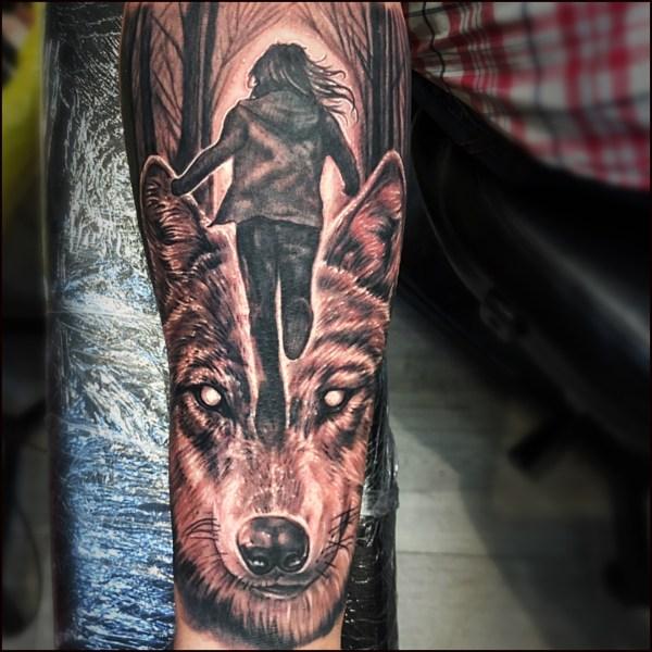 Run wolf lady tattoo