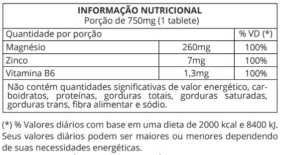 Informação Nutricional ZMA