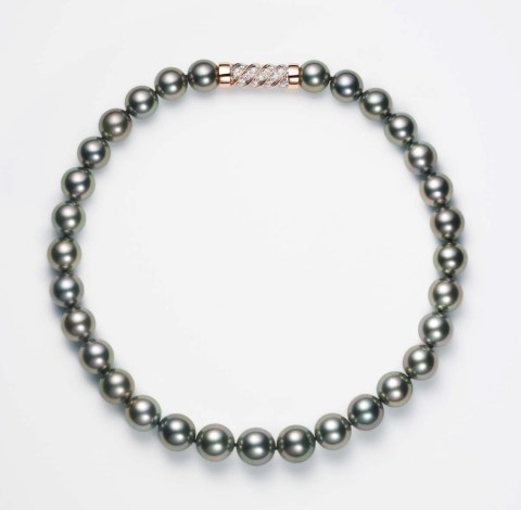 Takahashi Black Pearl Diamond Necklace