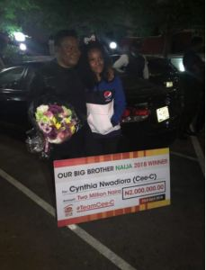 Cee-C's Father Welcomes Her Back As Her Fans Present Her N2Million Cheque (Photo)