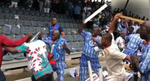 PHOTOS: Delegates Exchange Blows During Buhari's Speech At APC Convention