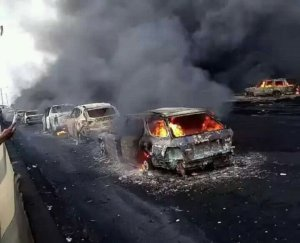 PHOTOS: 50 Cars Confirmed Burnt, 9 Bodies Recovered, Commuters Dead At Lag-Ibadan Exp. Way Tanker Explosion