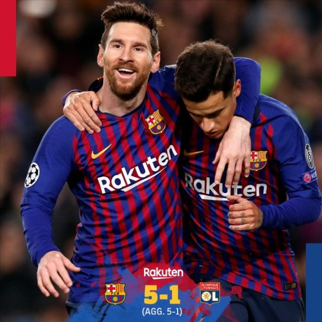 Barcelona vs Lyon 5-1 (AGG 5-1) - Highlights & Goals