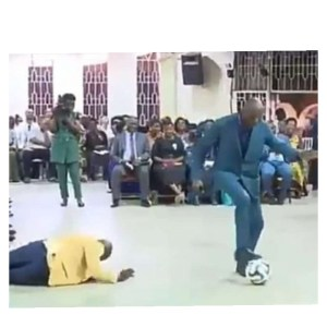 Pastor Performs Deliverance on Church Members Using Football (Video)