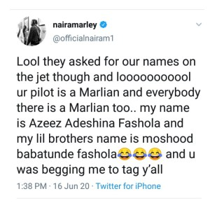 We Flew Naira Marley Cos We Thought He Was Babatunde Fashola - Execu Jets