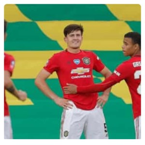 Harry Maguire celebrating his goal in Norwich vs Man Utd
