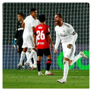 Sergio Ramos celebrating his goal in Real Madrid vs Mallorca match