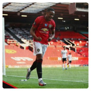 Anthony Martial celebrating his hat-trick goals in Man U vs Sheffield Utd match
