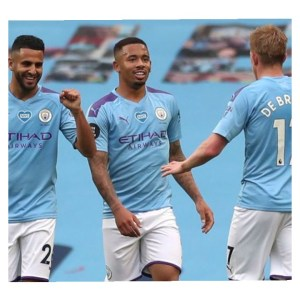 Riyad Mahrez, Gabriel Jesus and Kevin De Bruyne in Man City vs Newcastle game