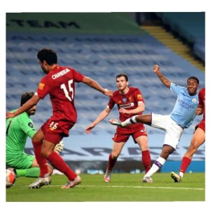 Raheem shoot the ball but Chamberlain deflected it to the goal in Man City vs Liverpool match