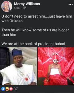 Mercy Williams Post on Sunday Igboho