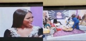 Bbnaija Reunion Show: Laycon, Erica Reacts As Tolanibaj Throws Pillow At Vee (Video)