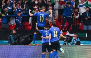 Bonucci celebrating equalizer goal along with Italy teammates against England at EURO 2020 Final