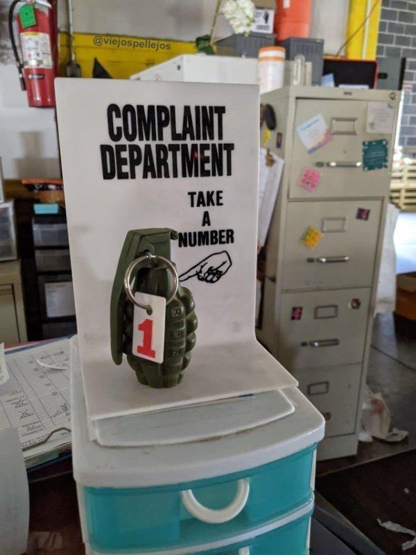 Departamento de quejas.