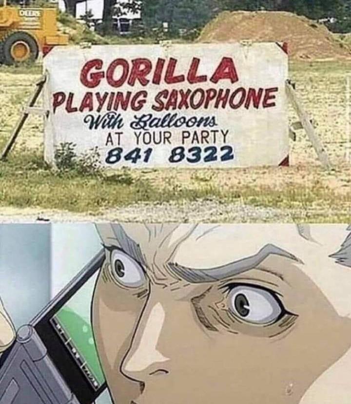 «Gorila tocando el saxofón con globos en tu fiesta».