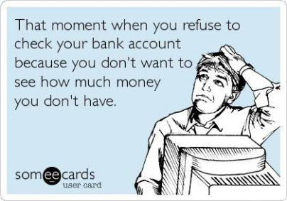 Refuse to check your bank account meme