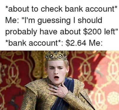 Shocked by checking bank account meme