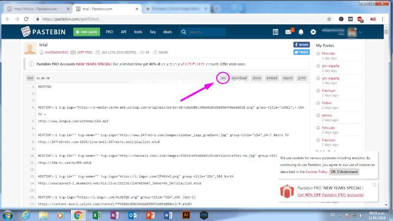 Crear una Lista M3u en Pastebin