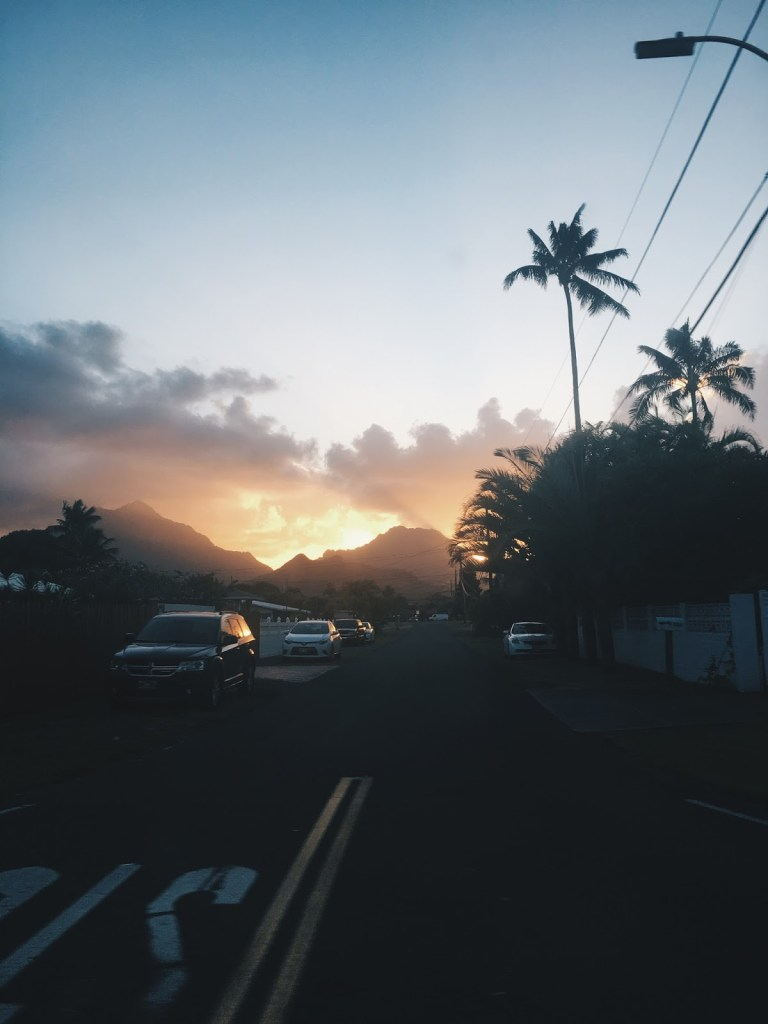 sunset in hawaii o'ahu