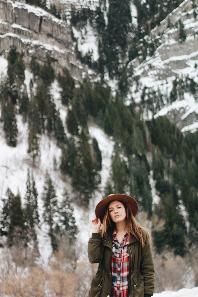 boho winter plaid look