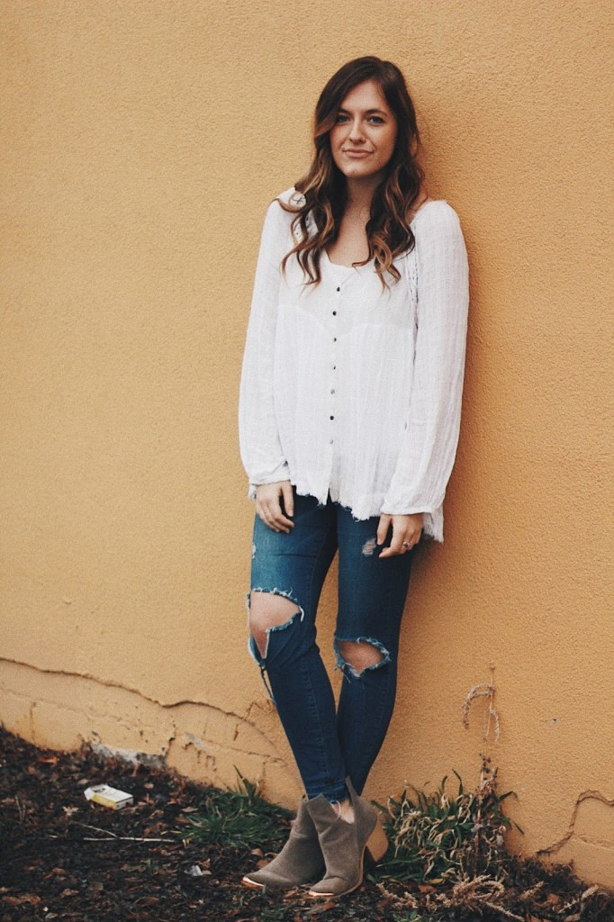 get happy right now free people white peasant blouse casual outfit