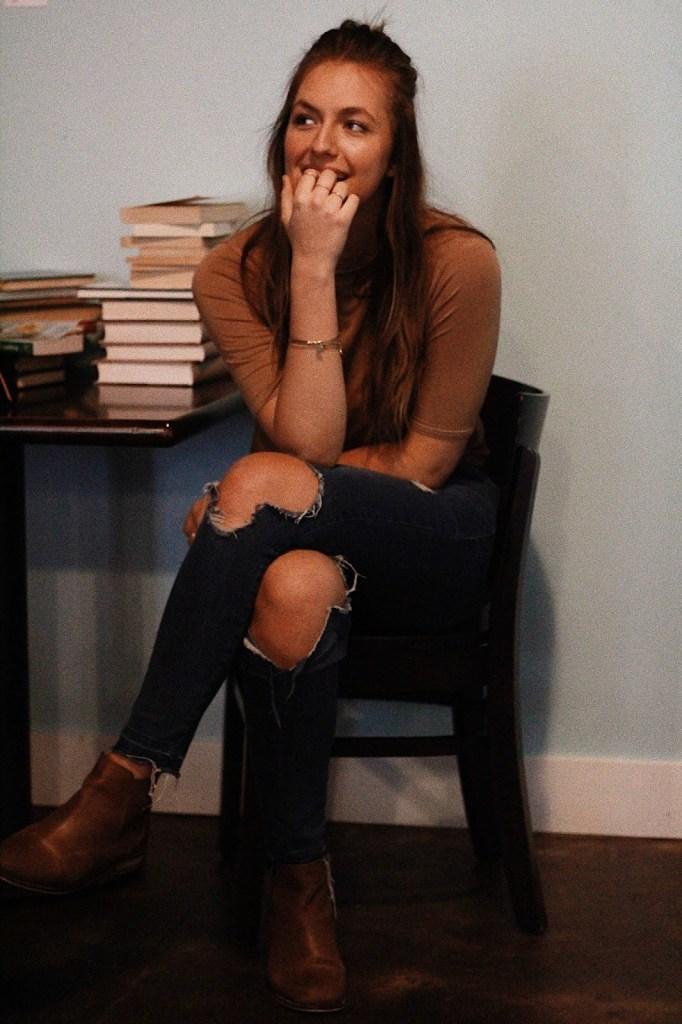 sitting down photo pose
