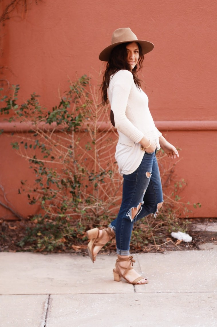 transition to spring sweater lace up sandals outfit