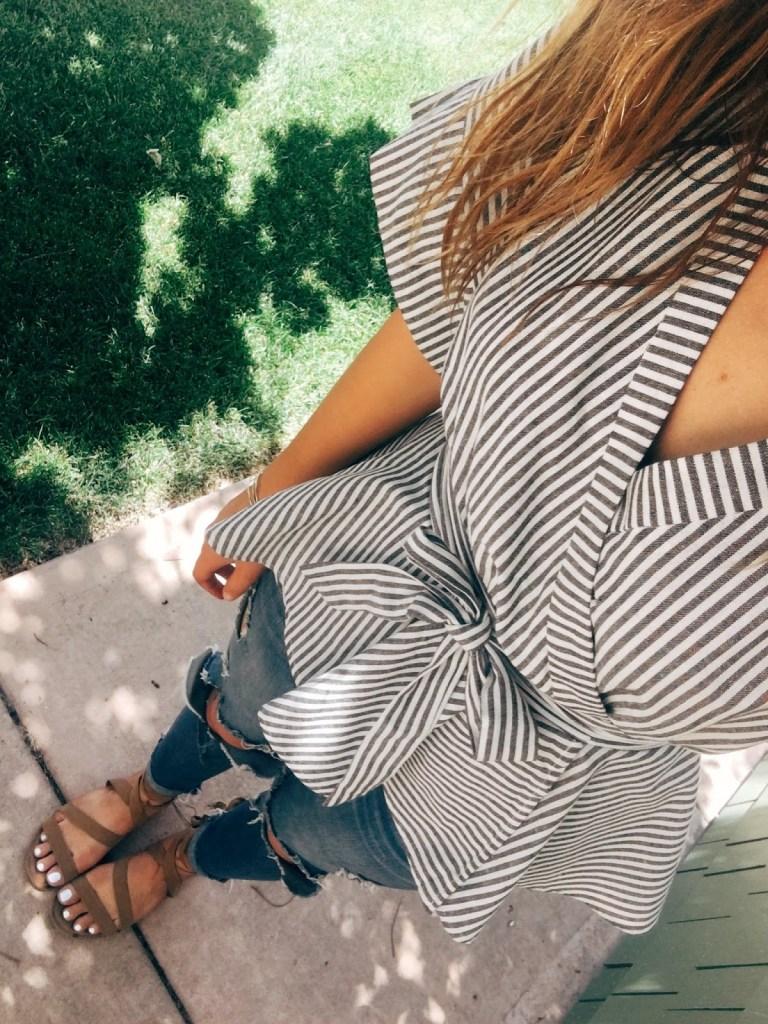 romwe striped peplum blouse