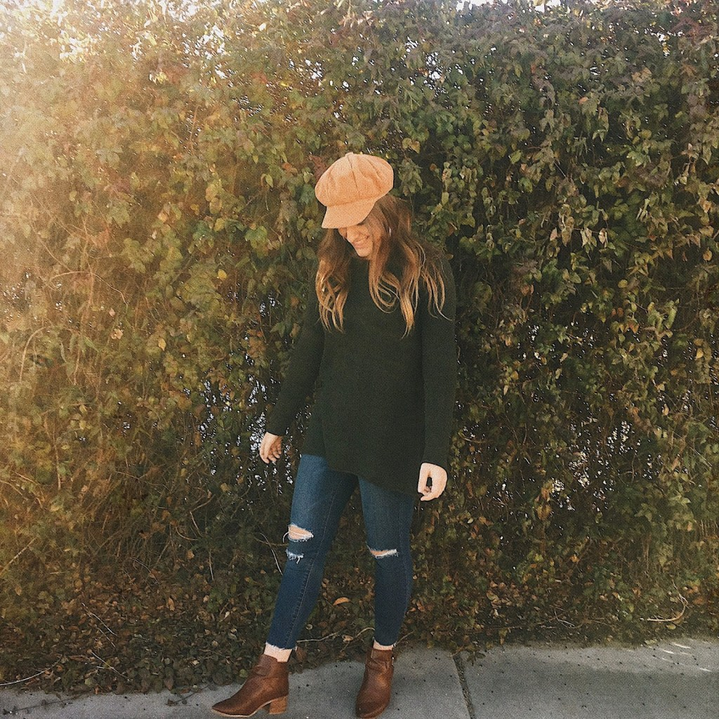 fall outfit corduroy hat