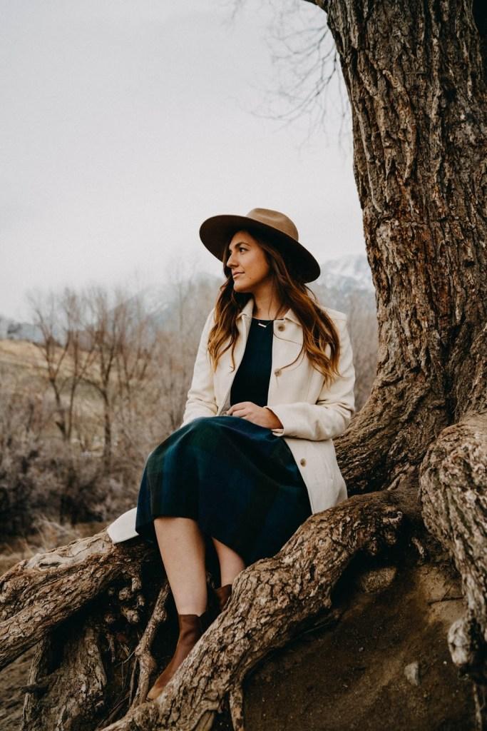winter funk moody portrait vintage plaid dress