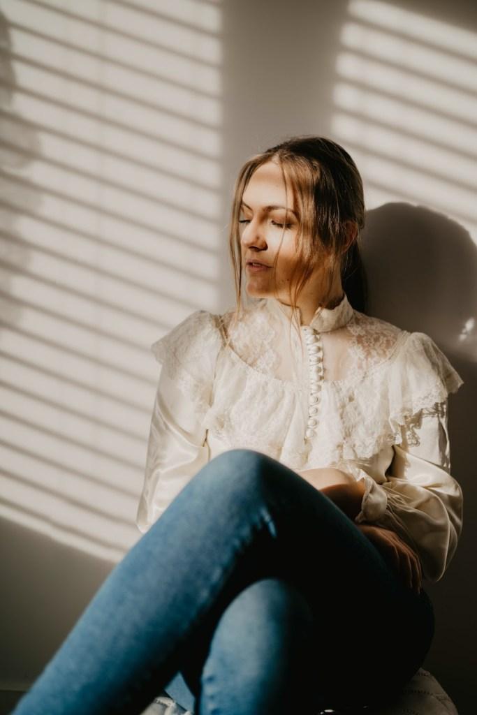 fun winter activities blind shadows moody portrait feminine
