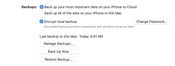 Apple Itunes Backup with encryption
