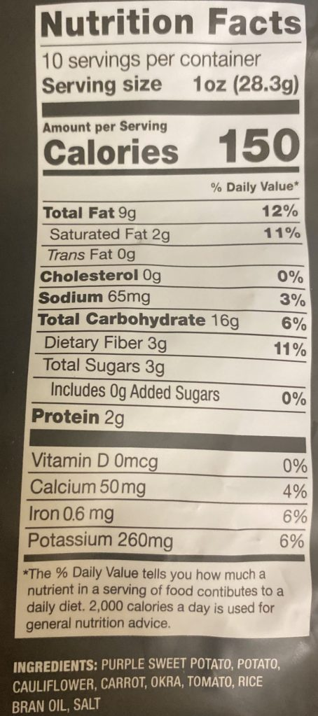 Nutrition Information for Sonoma Vegetable Crisps