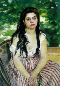 Portrait of a pensive young woman by Renoir