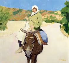 Pregnant woman on a Donkey