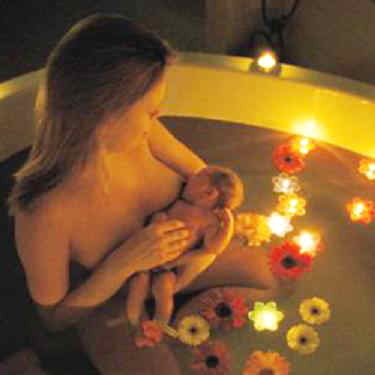 water birth with candles