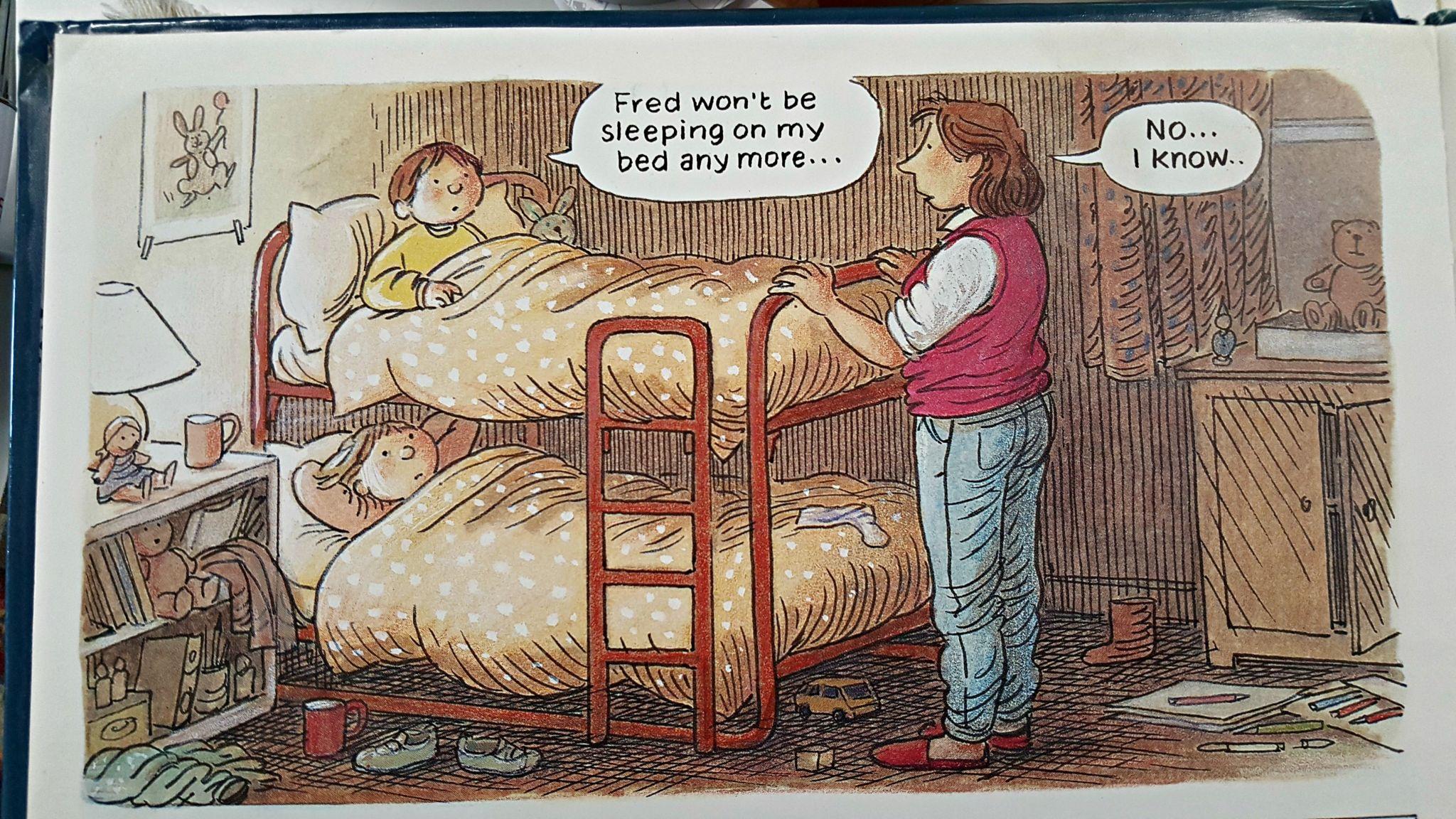 Mum tucks in children at bedtime