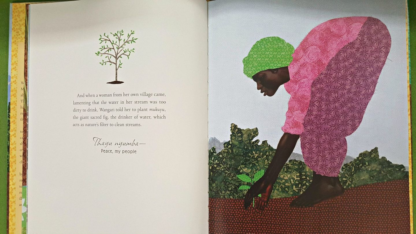 Fabric illustration of African woman planting seeds