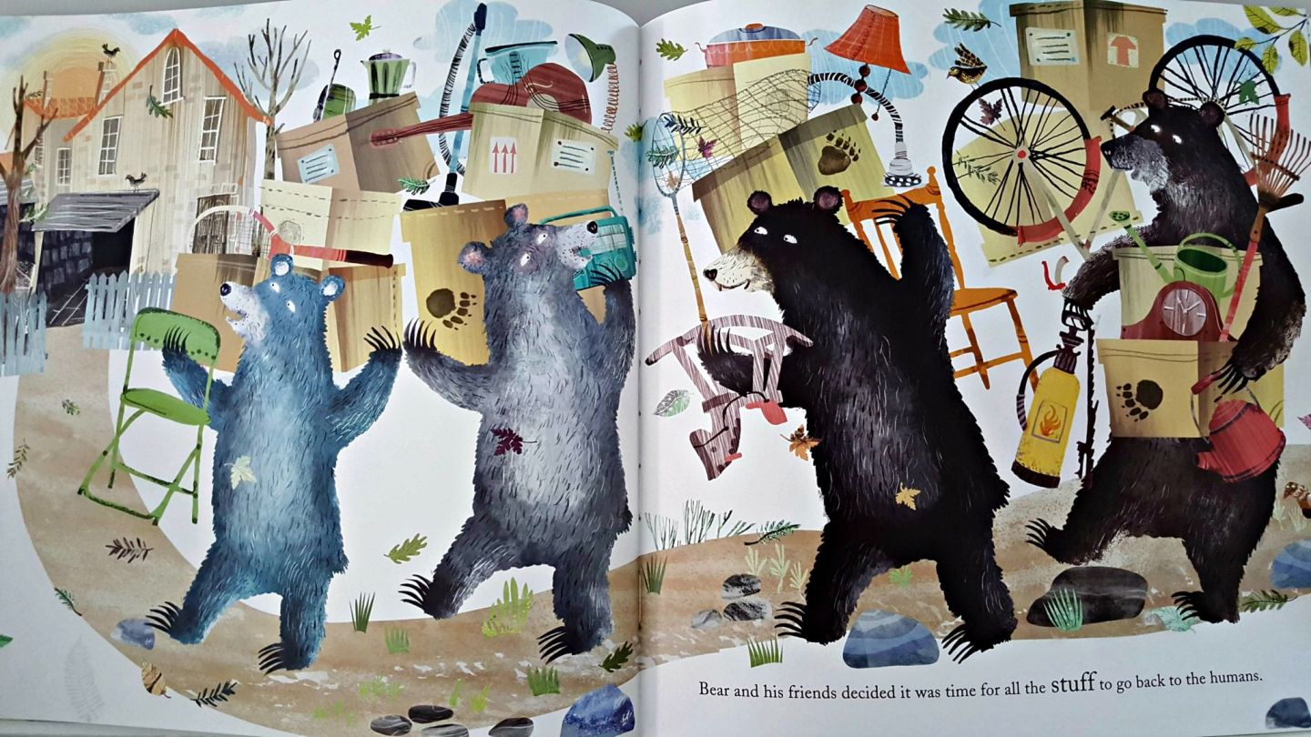 Illustrated bears empty a garage of stuff