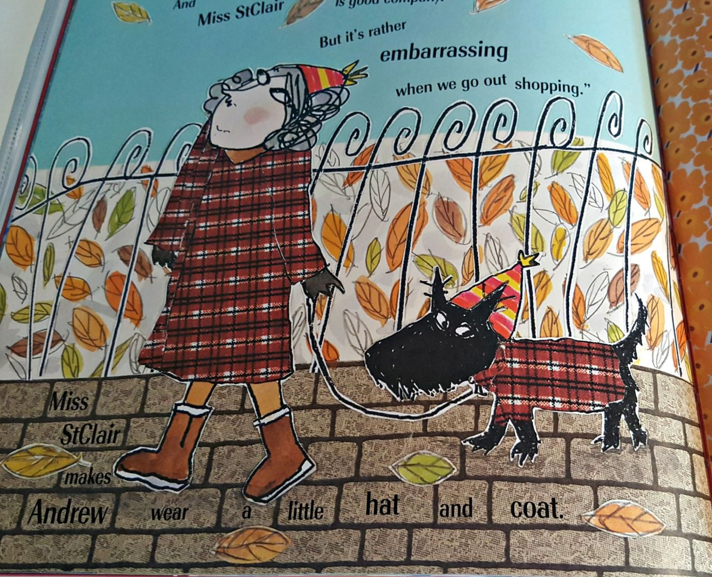 Illustrated scottie dog wearing tarten coat