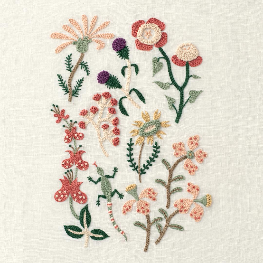 vyšívané květiny