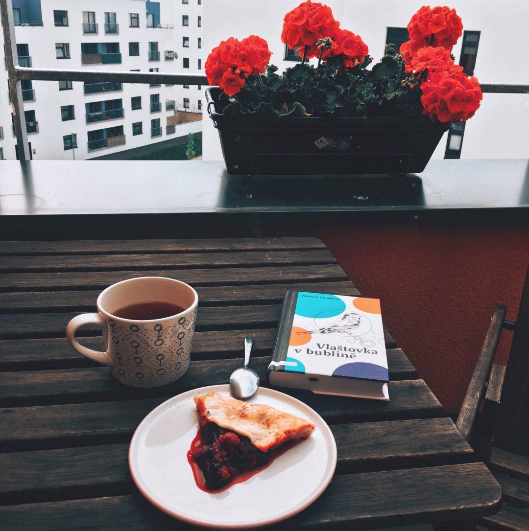 snídaně, knížka a terasa