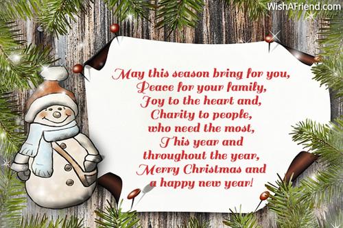 May This Season Bring For Christmas Card Message