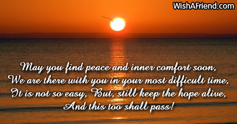 May You Find Peace And Inner Sympathy Message For Loss Of