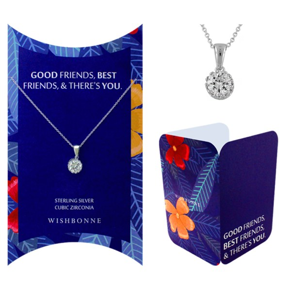 Friendship Solitaire Pendant Necklace