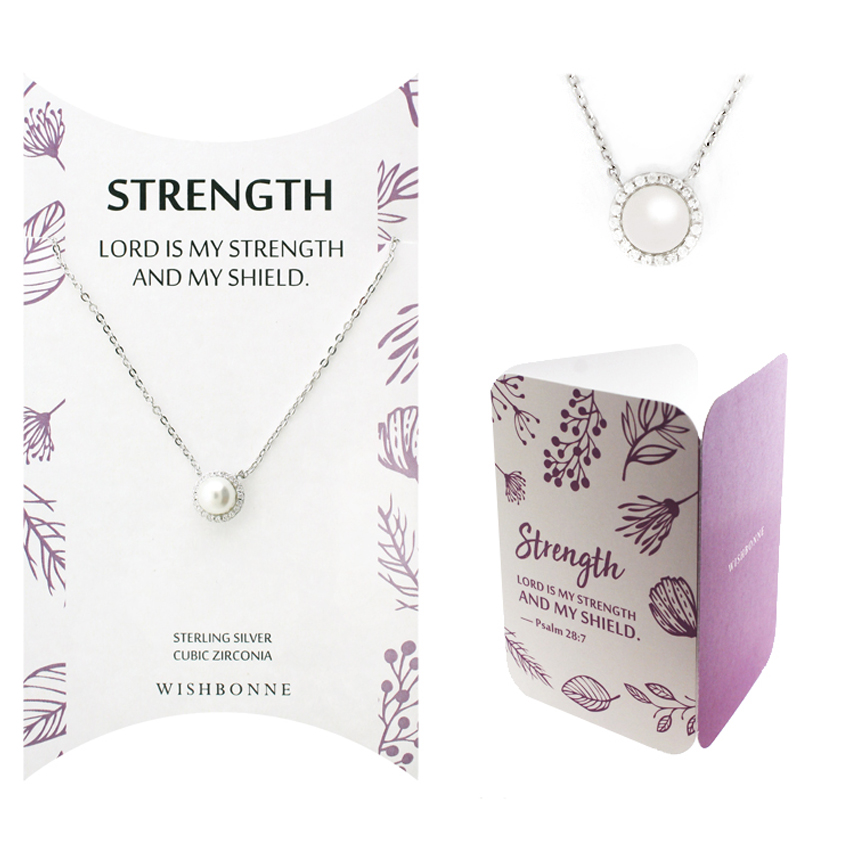 Biblical Strength Halo Pearl Necklace