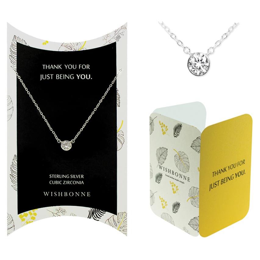 Thank you Bezel Stone Necklace