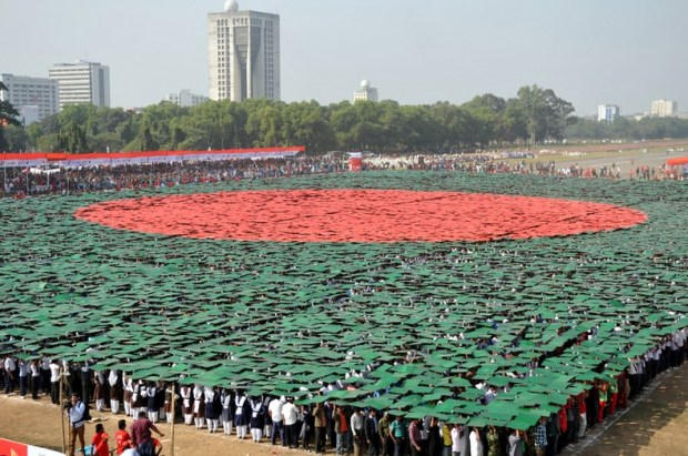 Bangladesh hits Guinness Book record with largest human national flag