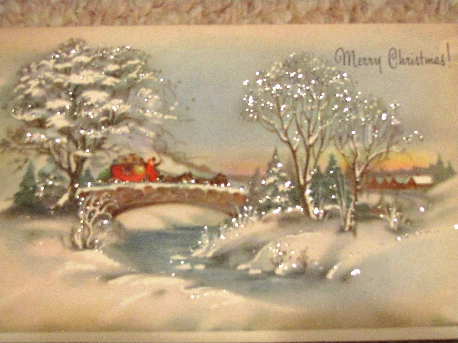 Vintage Christmas Cards Winter Beauty Glitter Unused In
