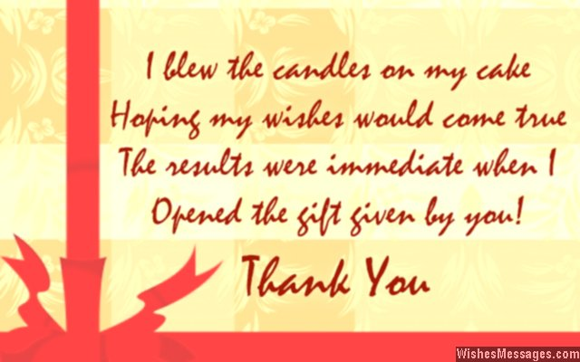 Thank You Notes For Birthday Gifts Messages For Birthday Gifts Wishesmessages Com